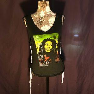 Lace up sides bob Marley one love v-neck tank top